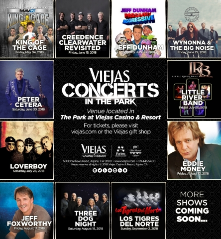 Viejas announces its 2018 Concerts in the Park lineup. (Photo: Business Wire)
