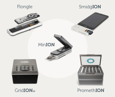 Oxford Nanopore's novel DNA/RNA sequencing technology: the portable MinION is now being joined by other formats including high-throughput, on-demand PromethION and single-test Flongle (Graphic: Business Wire)