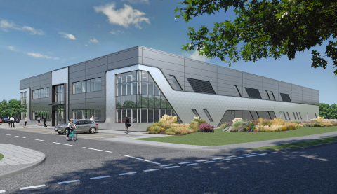 Oxford Nanopore will open a new high tech manufacturing facility in Oxford, and the building will resemble its pocket DNA sequencer MinION (Graphic: Business Wire)