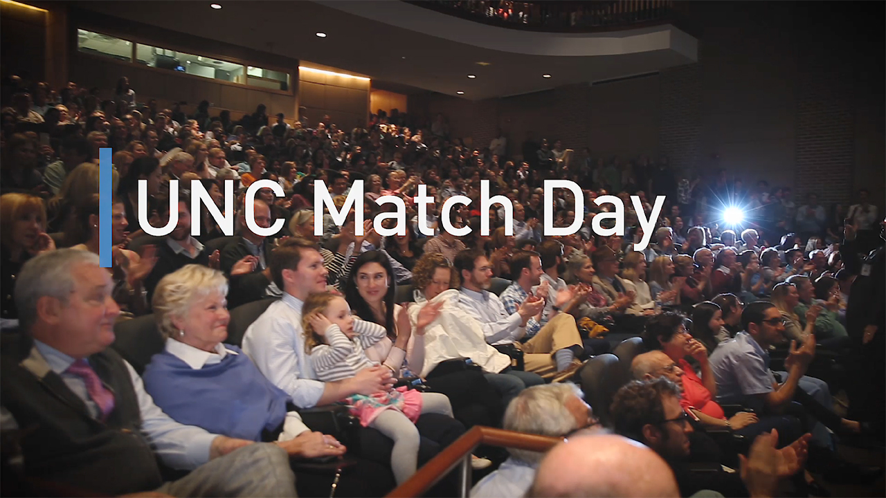 """UNC School of Medicine students learn where they'll complete their residencies on """"Match Day"""" 2018."""