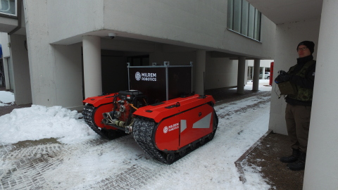 Known mostly for their smart warfare systems - Milrem Robotics - is entering the commercial market with its firefighting and search and rescue unmanned ground vehicle being developed together with rescue services. (Photo: Business Wire)