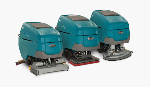 The Tennant T600 family of walk-behind scrubbers deliver exceptional cleaning performance with durable design and a suite of productivity-boosting features. (Photo: Tennant Company)