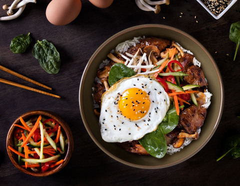 Korean Bibimbap is one of Chef Yuji Iwasa's new made-from-scratch lunch bowls at P.F. Chang's. (Photo: Business Wire)