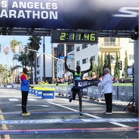Skechers Performance elite athlete, Weldon Kirui, wins the 2018 Skechers Performance Los Angeles Marathon. (Photo: Business Wire)