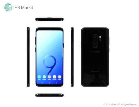 Samsung Galaxy S9+ exterior view: front, back, top, bottom and sides. Source: IHS Markit 2018