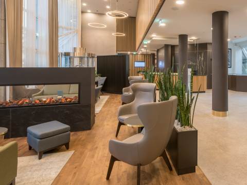 The new Hilton Garden Inn Frankfurt City Centre property in Germany features an upscale and inviting ...