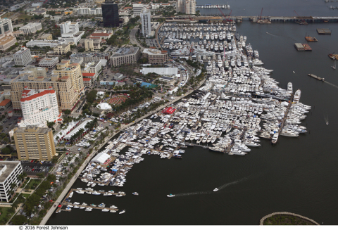 The Palm Beach International Boat Show takes place March 22 - March 25 along the Intracoastal Waterway a few miles from Trump's Mar-A-Lago. (Photo: Business Wire)