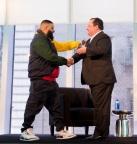 DJ Khaled Accepts the 2018 Viacom Social Impact Award from Viacom CEO Bob Bakish (Credit: Ester Segretto)