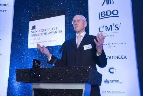 Sir Peter Middleton GCB, speaking at the 2018 Non-Executive Director Awards after receiving its Lifetime Achievement Award. (Photo: Business Wire)