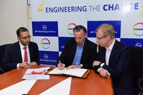 (L to R) Amit Chadha, President Sales & Business Development and Member of the Board, LTTS, Ferry Feldbrugge, Head of Global Projects & Engineering and Global Technical Contracting, Covestro and Stephan Krebber, Program Director, OSI2020 Program, Covestro signing the Master Service Agreement for Digital Transformation and Global Standardization Programs (Photo: Business Wire)