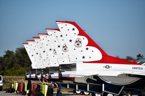 Lined up outside the Apex Executive Jet Center are F-16 Fighting Falcons of the United States Air Force Thunderbirds demonstration team preparing for the Air and Space Show at Orlando Melbourne International Airport (MLB this weekend. (Photo: Business wire)