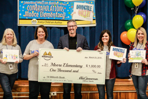 Moore Elementary in Franklin, Tenn., recognized for publishing the 14 millionth student-published book with Studentreasures Publishing, awarded $1,000, and entered into the National Book Challenge. (Photo: Business Wire)