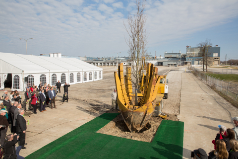 Cook broke ground on their new facility by planting a large Tulip Poplar tree, symbolizing new life in the old property.(Photo: Business Wire)