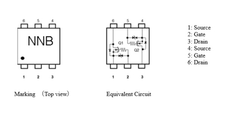 """Toshiba: Marking and equivalent circuits of a dual MOSFET """"SSM6N813R.""""(画像:ビジネスワイヤ)"""