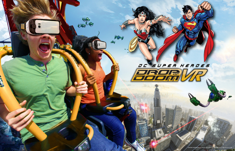 "Six Flags Magic Mountain, the undisputed ""Thrill Capital of the World,"" today announced the debut of the new extreme virtual reality experience on one of the world's tallest and fastest drop tower rides, DC SUPER HEROES Drop of Doom VR. Thrill-seekers don special VR headsets to view the action as SUPERMAN and WONDER WOMAN battle their nemesis, LEX LUTHOR, while plunging 400 feet at speeds up to 85 mph. Six Flags Magic Mountain is open 365 days a year. (Photo: Business Wire)"