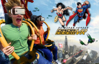 """Six Flags Magic Mountain, the undisputed """"Thrill Capital of the World,"""" today announced the debut of the new extreme virtual reality experience on one of the world's tallest and fastest drop tower rides, DC SUPER HEROES Drop of Doom VR. Thrill-seekers don special VR headsets to view the action as SUPERMAN and WONDER WOMAN battle their nemesis, LEX LUTHOR, while plunging 400 feet at speeds up to 85 mph. Six Flags Magic Mountain is open 365 days a year. (Photo: Business Wire)"""