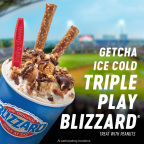 The delicious explosion of favorite ballpark flavors is capped with unique garnishes; caramel coated peanuts, caramel popcorn brittle and choco chunks are hand-blended together with world famous DQ creamy soft serve, then topped with crunchy pretzel rods and choco drizzled caramel popcorn, to create an unforgettable Blizzard Treat. (Photo: Business Wire)