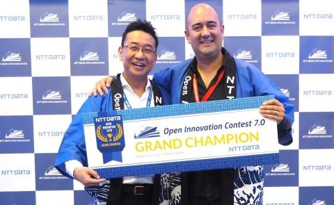 NTT DATA's Kotaro Zamma and Gestoos founder German Leon (Photo: Business Wire)