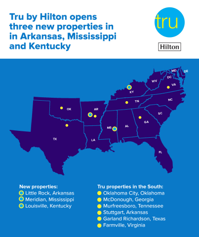 Tru by Hilton welcomes three new properties in the southern U.S., joining six existing locations in this region. (Graphic: Business Wire)