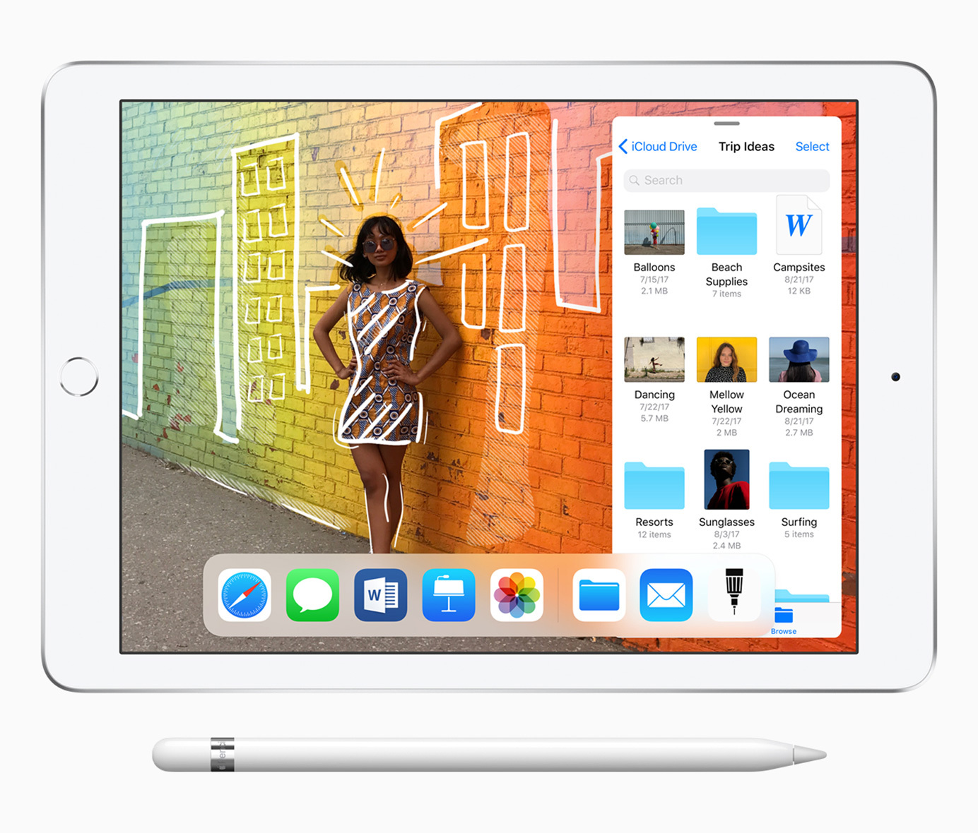The new ipad supports apple pencil and features even greater performance starting at 329