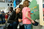 Utah Jazz center Rudy Gobert interacts with a child at the Vivint Smart Home Arena sensory room. (Photo: Business Wire)
