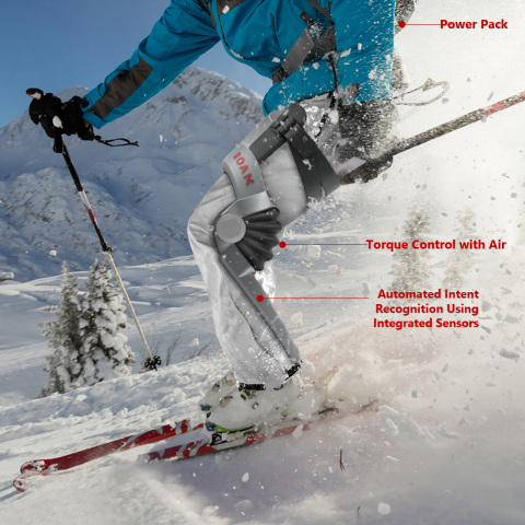 Roam Robotics' new exoskeleton balances weight and power to create a lightweight skiing device. (Photo: Business Wire)