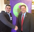 Eric Golnick (left), CEO of Veterans & First Responder Healthcare, shaking hands with Governor Sununu at the Recovery Friendly Workplace Initiative Event (Photo: Business Wire)