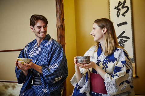 Wearing kimono and enjoying the tea ceremony experience at the same time (Photo: Business Wire)