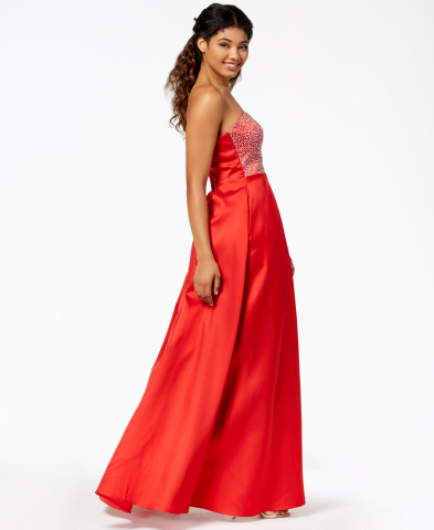 Macy's loves helping all girls look and feel their best on prom night. Say Yes to the Prom strapless beaded ball gown, $129, created for Macy's (Photo: Business Wire)