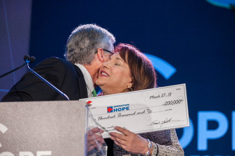 Frank Martell presents CoreLogic contribution of $200k to Operation HOPE President Dr. Anita Ward. (Photo: Business Wire)