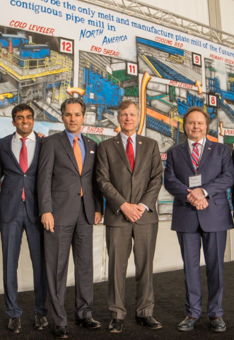 Parth Jindal, Director of JSW Steel USA; Jay Guerrero, Regional Director for Senator Cruz; Congressman Brian Babin; John Hritz, President and CEO of JSW Steel USA (Photo: Business Wire)