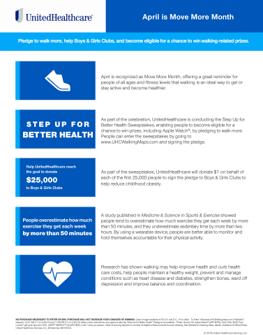 April is recognized as Move More Month, so UnitedHealthcare has launched the Step Up for Better Health Sweepstakes to encourage people to walk and in support of Boys & Girls Clubs (Graphic: UnitedHealthcare).
