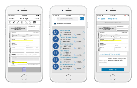 QliqSOFT's new Snap & Fax feature integrates with existing workflows to allow for clinicians to securely create and fax important documents with their mobile devices. (Photo: Business Wire)