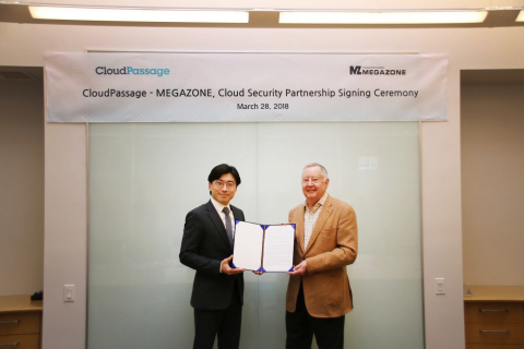 Megazone (CSO: Max Lee), an AWS premier consulting partner and cloud-specialized company signed a strategic alliance with CloudPassage (CEO: Robert Thomas) for cloud-based security automation. With this partnership signed, Megazone is now able to provide customers with world-class automated cloud operational system and the corresponding services in DevSecOps, security, backup, 24/7 monitoring and disaster recovery. (Photo: Business Wire)