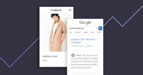 Google AMP improves mobile load time by generating a simplified version of a website's category and product detail pages on mobile devices. (Graphic: Business Wire)