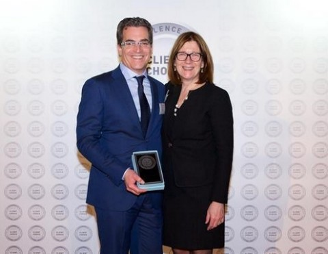 Wolf Greenfield shareholder John R. Van Amsterdam Ph.D., honored with the Lexology 2018 Client Choice Award, with wife, Kristine Van Amsterdam. (Photo: Business Wire)