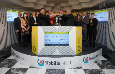 "Nobilis Health Corp. (NYSE American: HLTH) (""Nobilis Health""), including CEO and Chairman of the Board, Harry Fleming, joined Jos Schmitt, President and CEO, NEO, to open the market in celebration of the recent listing of Nobilis Health's common shares on NEO. When shares began trading on March 7, 2018, under the ticker symbol HLTH, Nobilis Health became the first cross-listed company on NEO. Nobilis Health, a US healthcare development and management company with over 30 locations across Texas and Arizona, including hospitals, ambulatory surgery centres, multi-specialty clinics and partners with over 30 facilities across the country, generated USD $300 million in revenue in 2017. (Photo: Business Wire)"