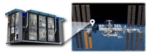 MISSE, Alpha Space's commercial science and testing facility, is en route to its permanent home on the ISS. Depicted are the experiments integrated into carriers and trays on the MISSE and its final destination on station. ISS image courtesy of NASA.
