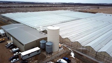 In response to rapidly growing global demand for cannabis products, Tilray previously announced an investment of up to $30 million in a second facility featuring 13 acres of greenhouse located on 100 acres of property in Enniskillen, Ontario. The facility, now called High Park Farms™, is currently under construction and is expected to begin cultivating cannabis in the first half of 2018 subject to the receipt of necessary regulatory approvals. (Photo: Business Wire)