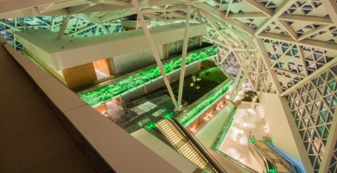 King Abdullah Financial District in Riyadh (atrium top) building where the first movie theatre will  ...