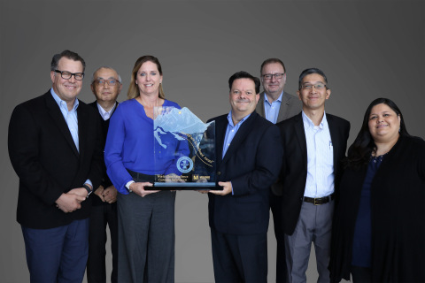 For the sixth consecutive year, Mouser Electronics has received the NorthFace ScoreBoard Award for world-class customer service excellence. Pictured left to right are Mouser executives Coby Kleinjan, Sam Katsuta, Regina Denbow, Mark Burr-Lonnon, Graham Munson, Minky Lam and Linda Salinas.