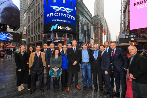 The Arcimoto (NASDAQ: FUV) management team commemorates ringing the Nasdaq Closing Bell on April 3, 2018 in Times Square, New York. Photography by Kelsey Ayres/Nasdaq, Inc.