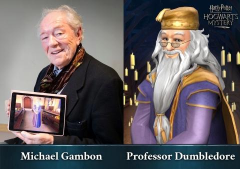 Michael Gambon在Jam City出品的《哈利波特:霍格華茲之謎》中為Dumbledore教授配音(照片:美國商業資訊)
