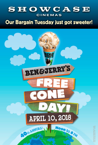 Help Showcase Cinemas Distribute More Than 22,000 Ice Cream Cones on Ben & Jerry's Free Cone Day! (Graphic: Business Wire)