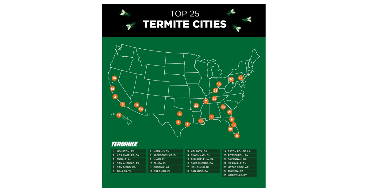 Correcting And Replacing Graphic Terminix Releases Top 25 Termite Cities List Business Wire
