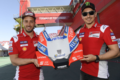 Ducati racers, Andrea Dovizioso (left) and Jorge Lorenzo (right). (Photo: Business Wire)