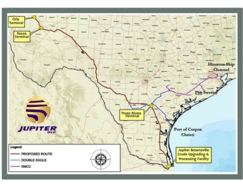 Jupiter's will be the only Permian pipeline with direct access to all three major Texas deep water ports: Houston, Corpus Christi, and Brownsville. (Photo: Business Wire)