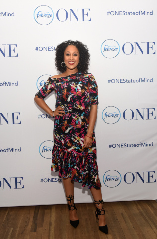 "Actress, co-host of The Real, and mother of two, Tamera Mowry-Housley gets into #ONEStateofMind with Febreze ONE. Tamera has partnered with the brand to launch the ""ONE Happy Home"" video series and show how she uses Febreze ONE - a product with no aerosols, dyes or heavy perfumes - to safely eliminate everyday odors and provide a fresh smelling environment. To watch the ONE Happy Home video series visit Febreze's YouTube page. (Photo by Diane Bondareff/Invision for Febreze/AP Images)"