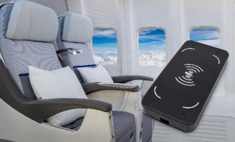 Wireless charging module from Astronics AES charges personal entertainment devices wirelessly while onboard an aircraft (Photo: Business Wire)
