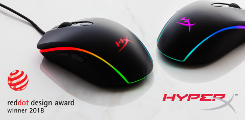 HyperX shipping HyperX Pulsefire Surge mouse with RGB lighting. Pulsefire Surge wins Red Dot 2018 Design Award. (Photo: Business Wire)